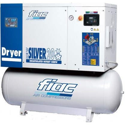 New Silver Silent Rotart Screw Tank Mounted Air Compressor With Dryer