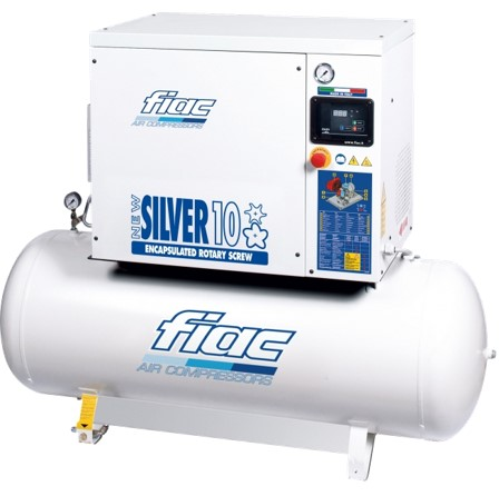 New Silver Silent Rotart Screw Tank Mounted Air Compressor